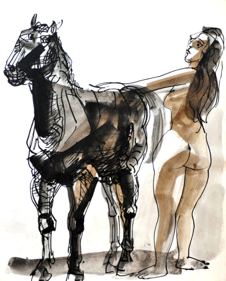 """""""Nude with Horse"""", early 1970s by California Artist Channing Peake"""