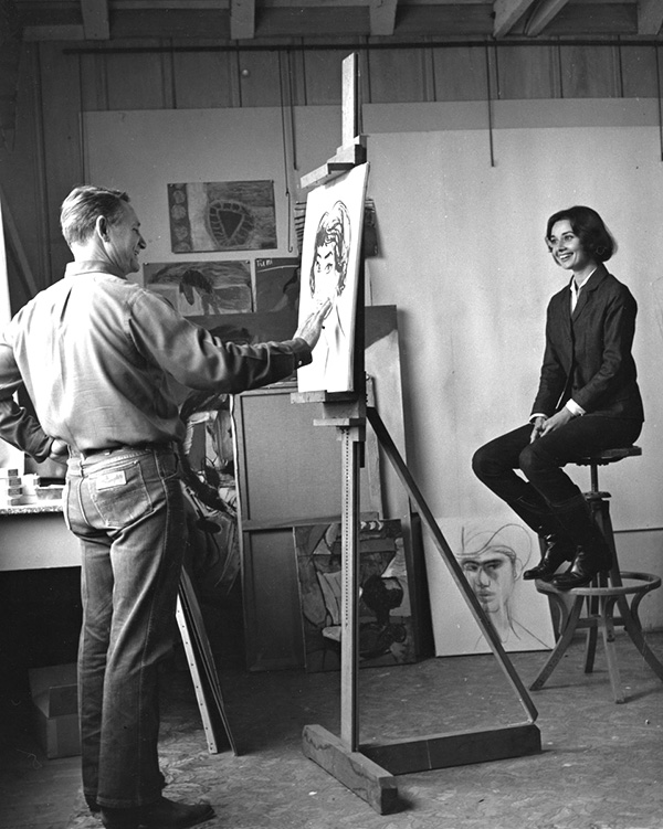 """Channing Peake Drawing his Friend Audrey Hepburn"""