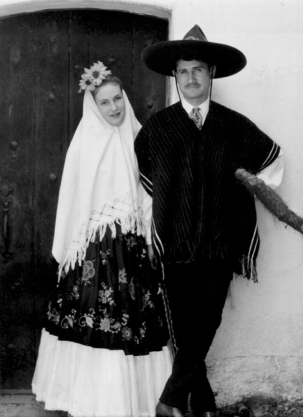 """Newlyweds Channing and Catherine captured during Santa Barbara Fiesta Celebration."""