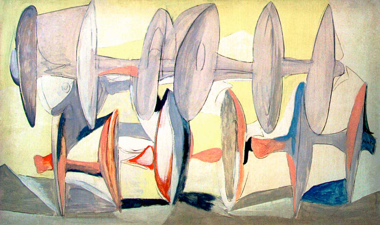 "Santa Barbara, California Artist Channing Peake ""Disk Harrow in the Early Morning"" 1953"